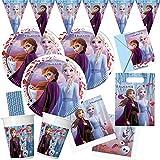 spielum Set da 57 pezzi Frozen – La regina di ghiaccio 2 – piatti, bicchieri, tovaglioli, sacchetti per inviti, bandierine, cannucce per 6 – 8 bambini