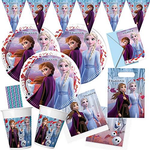 spielum 57-teiliges Party-Set Frozen - Die Eiskönigin 2 - Teller Becher Servietten Partytüten Einladungen Wimpelkette Trinkhalme für 6 - 8 Kinder