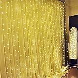 Luces de Cortina, SOLMORE 300 LED Bombillas 3Mx3M Cortina luminosa de lámpara Cadena de Luces para la decoración fiesta Boda Navidad Ceremonia Hotel Jardín blanco cálido