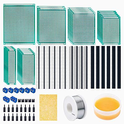 71Stk Lochrasterplatte Kit,23er Doppelseitig PCB Board leiterplatte Lochrasterplatine lochplatine,16Stk männlich weiblich und rechtwinklig Stiftleiste,8 Stk 2P&3P Schraubklemmenblock mit Werkzeuge