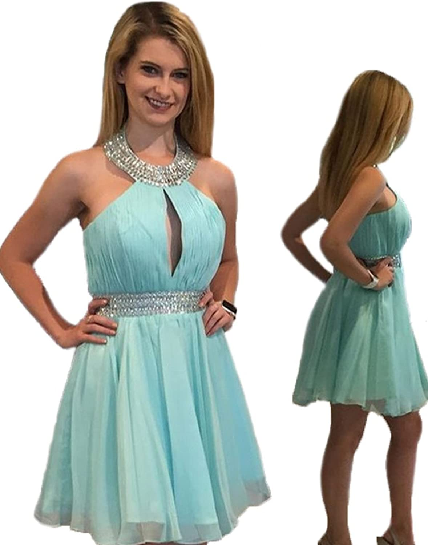 High neck short Homecoming Dress For girls juniors With Neckline Beads Dress