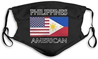 IuER90@E Philippines American Flag Pm2.5 Face Bandana Men Women 5-Layer Activated Carbon Filters Breathable Scarf Shield