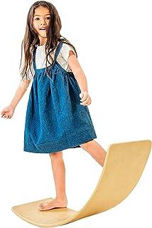 "Avrsol Wooden Wobble Balance Board for Kids, Toddlers, Teens, Adults – 36"" Natural Wood Rocker Board Waldorf Balance Board"