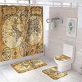 4-Teiliges Duschvorhang-Set für Badezimmer,Braunbeige Weltkarte,rutschfest,WC-Vorleger + WC-Deckelbezug + Badematte + Duschvorhang mit 12 Haken,Badezimmerdekor
