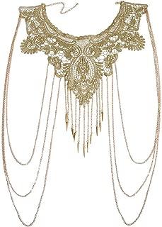 Gold Fine Chain with Yellow Flower Lace Bikini Body Chain Necklace Jewelry