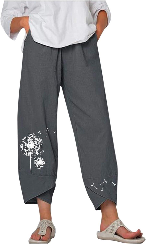 Toeava Capri Pants for Women,Womens Flower Print Cotton Linen Casual Pants Loose Comfy Trouser Capris Pants with Pocket