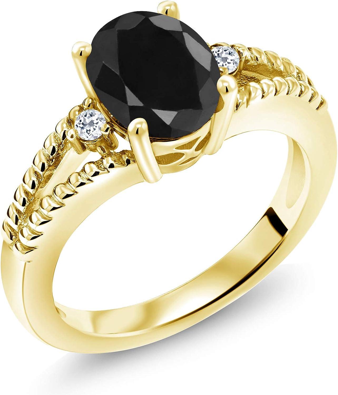 Ranking TOP6 Gem Stone King Quality inspection 2.59 Ct Oval Sapphire Yello Black White Topaz 18K
