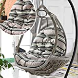 ZHAS Egg Chair - Cojín con Hamaca Egg Chair con Forma de reposabrazos Muebles de jardín para jardín, Interior/Exterior, 90x120cm (Color: Gris)(Sin Silla)