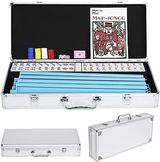 Yaheetech American Mahjong Set Mah Jongg Sets Aluminum Case 166 Tiles 4 Pushers/Racks Silver