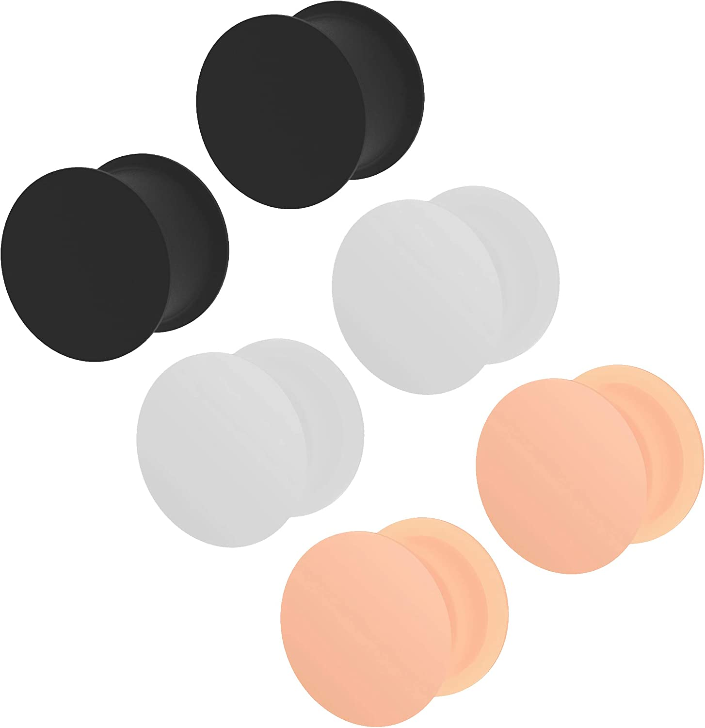3 Pairs Max 43% OFF Ear Max 80% OFF Plug Skin White Earrings Double Black Silicone Flare