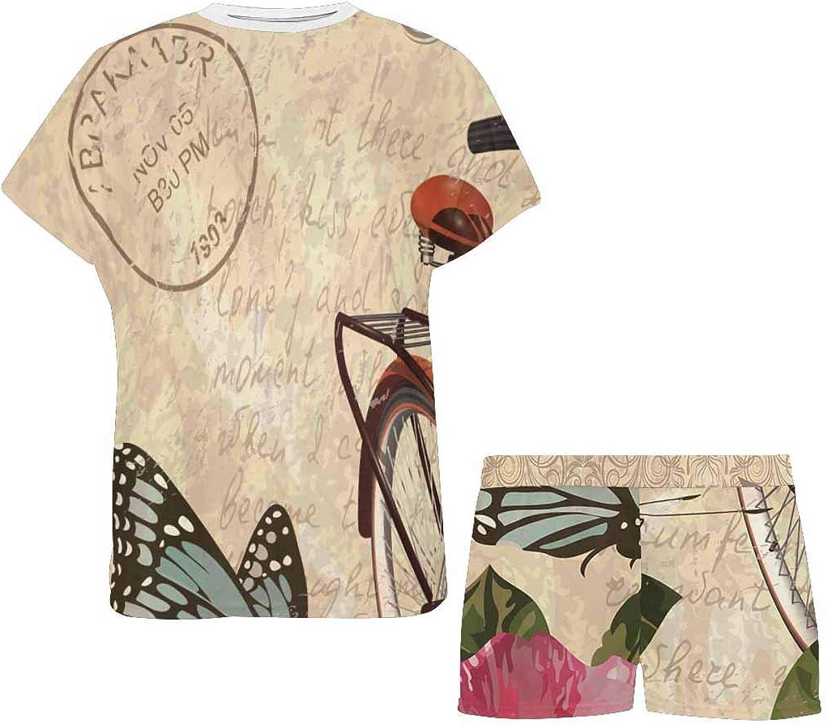 InterestPrint Vintage Roses Butterflies and Bicycle Women's Lightweight Pajama Set, Short Summer Pjs