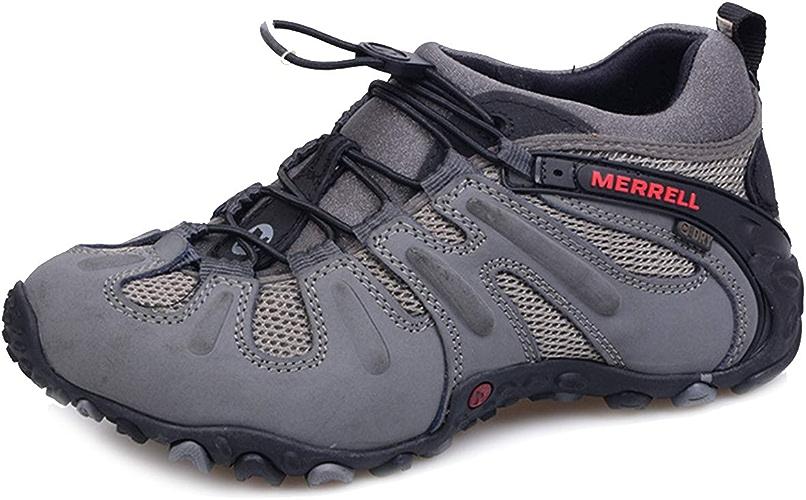 XWQXX Chaussures de randonnée en Cuir Professionnelles à Semelle antidérapante en V Sport pour Hommes, Chaussures de randonnée Tout-Terrain, Chaussures de randonnée,gris-45EU