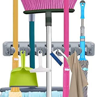 Wall Mounted Mop and Broom Hanger Holder Garden Tool Organizer Storage Hook (5 Sections & 6 Hooks, Grey)