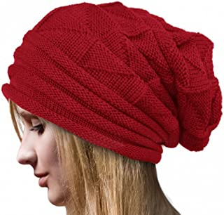 Ruhiku GW Women's Chunky Hat Soft Stretch Knit Warm Fuzzy Lined Skully Beanie Oversized Cable Cap