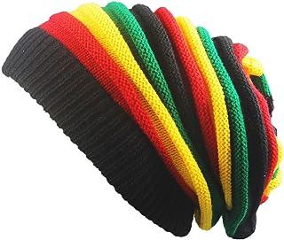 Eliffete Unisex 2018 Fashion Rainbow Crochet Beanie Baggy Knitted Hat Skull Caps