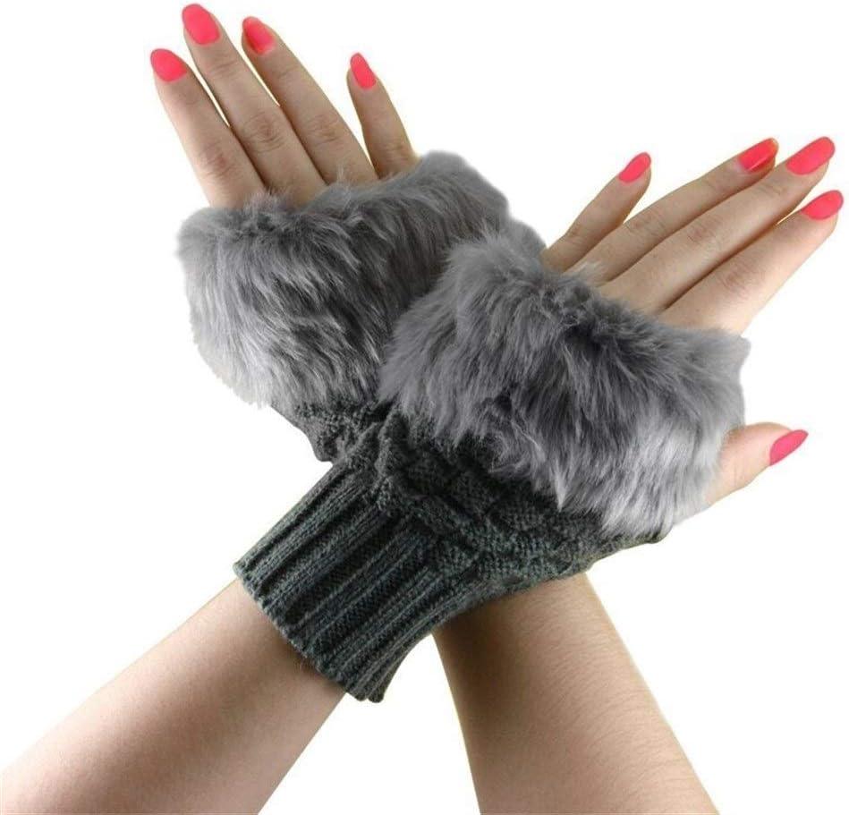 FASGION Fashion Winter Women Gloves Plush Faux Fur Knitting Wool Keep Warm Short Mitten Fingerless Lady Girl Half Finger Glove (Color : Deep)