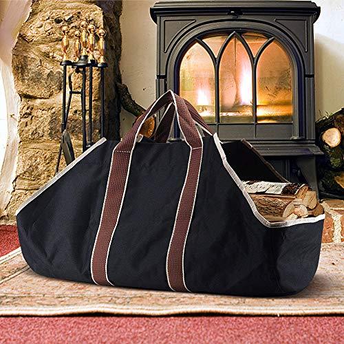 Sac de transport d'extérieur en toile, supports de rangement pour sac de rangement pour le bois de chauffage de cheminée, supports de bûches de grande capacité, noir