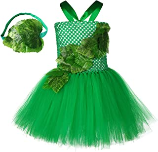Girl Ivy Costume - Handmade Halloween Party Cosplay Birthday Tutu Tulle Dress Up for Kid Toddler Child with Headwear