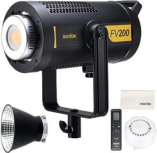 Godox FV200 HSS Flash LED Light, Bowens Mount 200W 1/8000 HSS Studio Strobe Light con luz LED continua, receptor inalámbri...