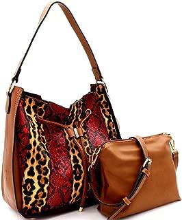 Leopard Snake Print Vegan Leather Patchwork Drawstring Hobo Bag Purse Crossbody