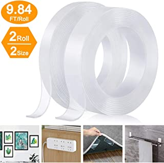 Nano Double Sided Tape, Removable Clear Gel Grip Tape, Reusable Traceless Transparent Sticky Adhesive Tape,Non-Slip Mounting Tape for Carpet, Photo/Poster, Home and Office Use (2 Rolls, Total 19.7FT)