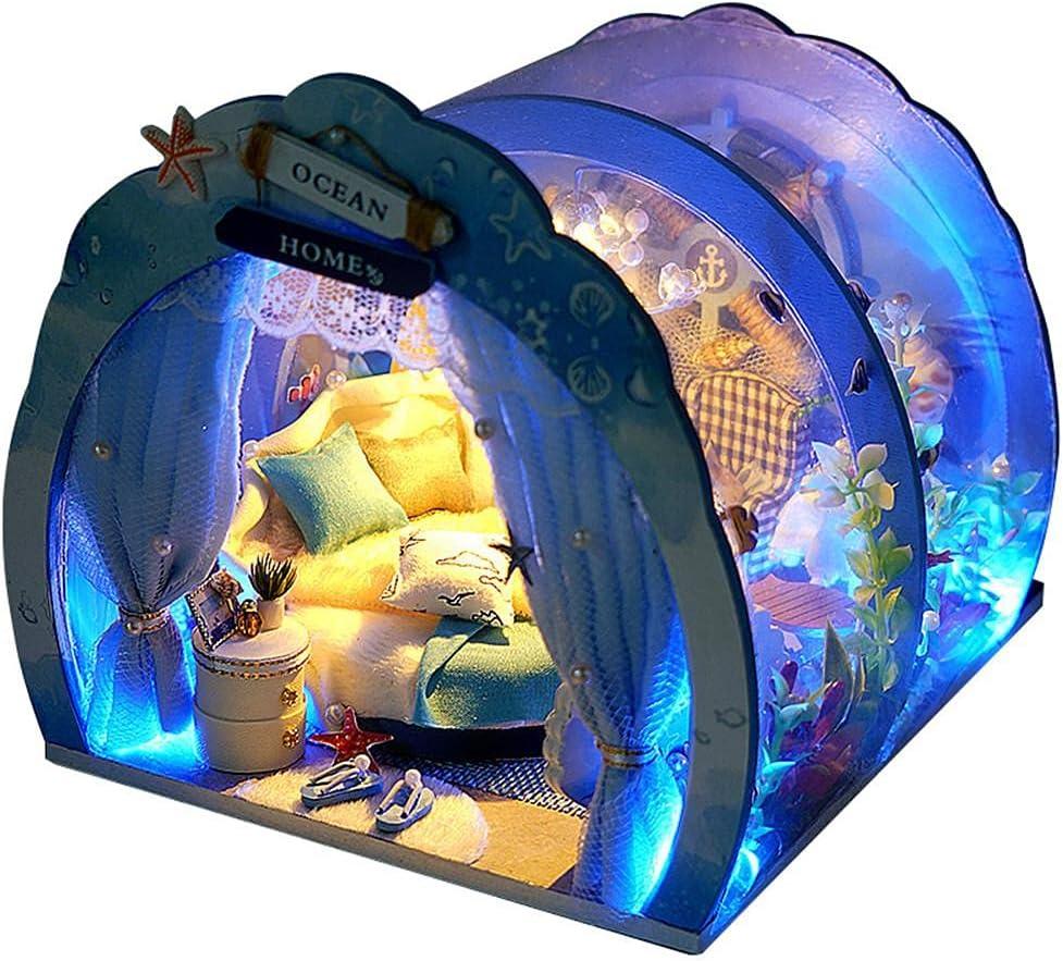 LED DIY Mini Ocean Rapid rise Tunnel Dollhouse with Fur overseas Miniature Kit House