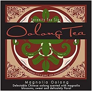 Serenity Tea Sips Magnolia Oolong - 4 oz. loose leaf green style oolong scented with