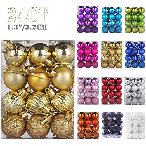 """Emopeak 24Pcs Christmas Balls Ornaments for Xmas Christmas Tree - 4 Style Shatterproof Christmas Tree Decorations Hanging Ball for Holiday Wedding Party Decoration (Gold, 1.3""""/3.2CM)"""