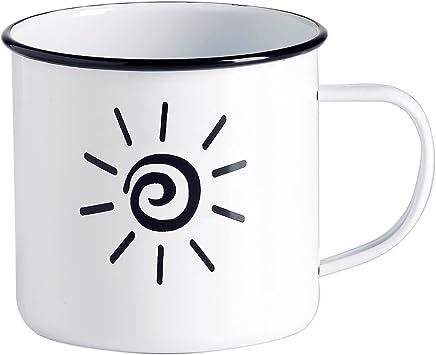 Preisvergleich für Emaille Tasse - Kaffee Becher - Tasse weiß / schwarzes Design Fahrrad, Sonne, Retro-Brille – Vintage Tasse groß / robust – 500 ml – für Retro-Küche, Picknick, Outdoor, Camping – Becher emailliert