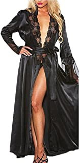 Swyss Women Lace Stitching Long Bathrobes Nightgown, Sexy Silk Dressing Gown Babydoll Lingerie Bath Robe