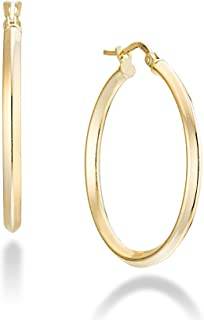 Miabella 18K Gold Over 925 Sterling Silver 2.5mm High Polished Knife Edge Hoop Earrings for Women Teen Girls 15mm, 20mm, 30mm, 40mm, 50mm Lightweight Earrings Made in Italy