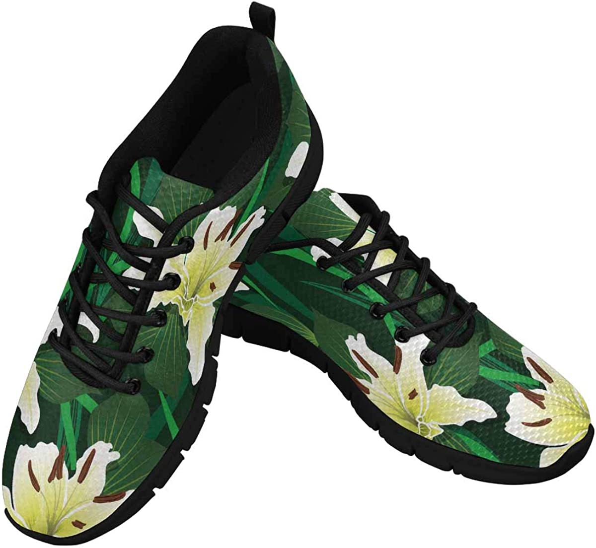 INTERESTPRINT Lily Flowers on a Green Background Women's Walking Shoes Lightweight Casual Running Sneakers