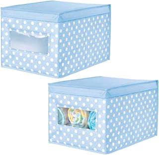 mDesign Juego de 2 Cajas de Tela de Lunares – Caja de almacenaje con Tapa abatible para habitación Infantil – Organizador Infantil apilable de Fibra sintética Transpirable – Azul Claro/Blanco