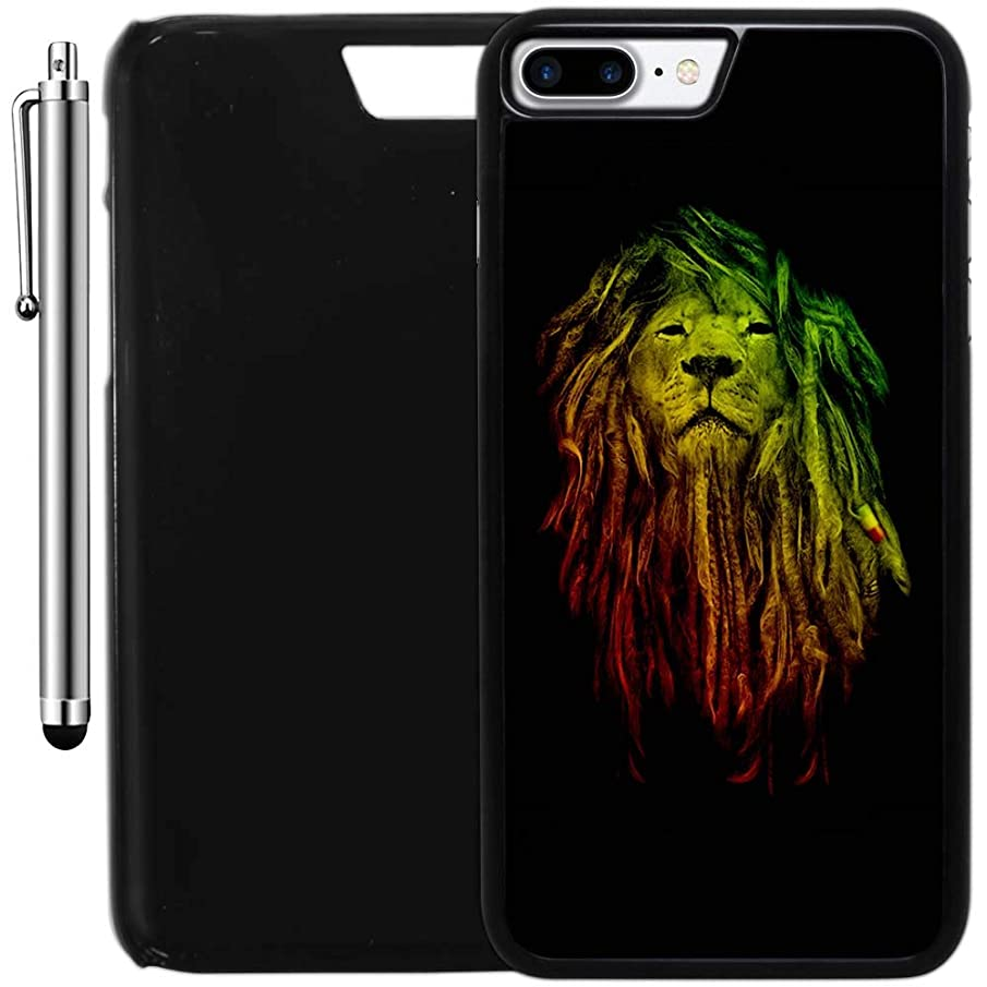 Custom Case Compatible with iPhone 8 Plus (5.5 inch) (Rastafarian Lion Reggae) Plastic Black Cover Ultra Slim | Lightweight | Includes Stylus Pen by Innosub