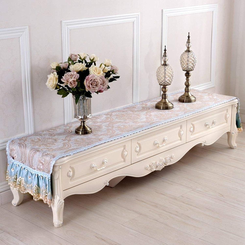 JFFFFWI Meuble TV de Style européen Table Robeer Couvercle Cache-poussière en Tissu Tissu américain TV Table Basse Table-Cloth-C 45x210cm(18x83cm)