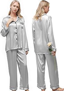 أطقم بيجامات نسائية من Ladies eshow، ملابس نوم مريحة حريرية للنساء، ملابس نوم للسيدات مجموعتين، أزرار سفلية