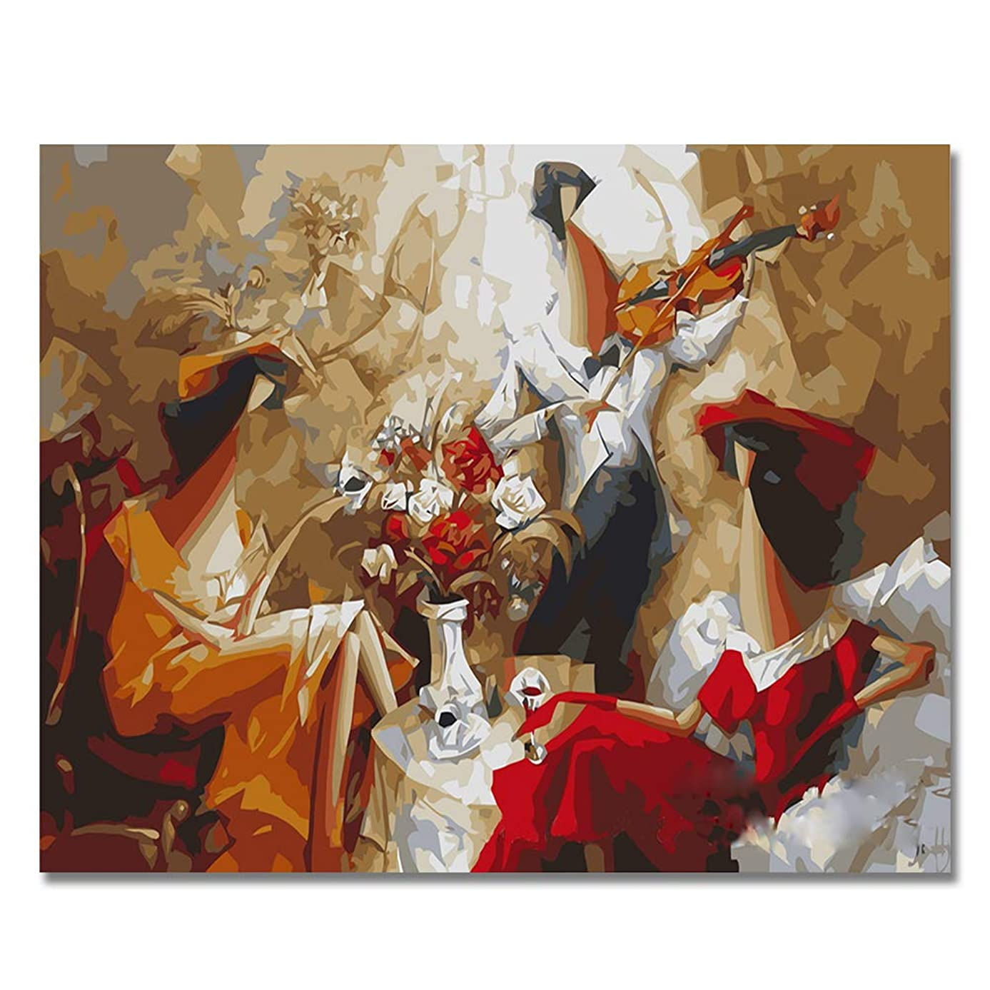 LIUDAO Paint By Numbers Kits, Oil Painting on Canvas - Violin Women - 16x20 Inches Without Frame Oil Painting