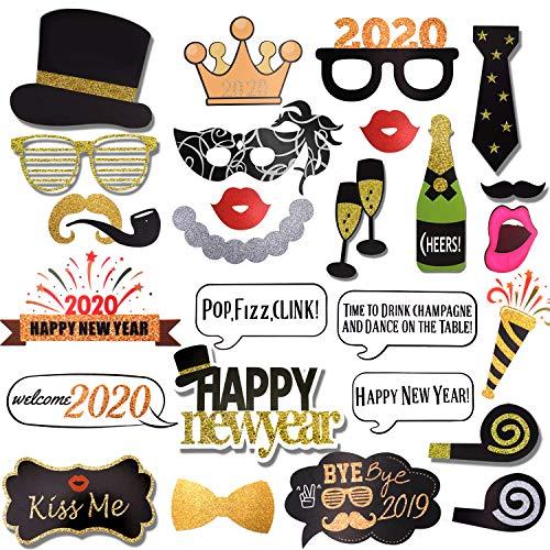 WENTS 56 Piezas Año 2020 Photo Booth Props Cabina de Fotos Accesorios Photocall Divertido DIY Kit Decoracion Incluyendo Bigotes Gafas Pelo Arcos Sombreros para Nochevieja 2020 decoración de Fiestas