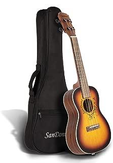 SANDONA Acoustic-Electric Concert Ukulele Complete Kit eUKC-131 Spruce Top Flamed Okoume Back and Side Under-Saddle Pickup, Strap, Aquila Strings, Digital Tuner and Gig bag, Mocha, 24''