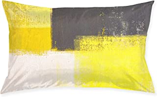 Cinlanck Yellow and Grey Abstract Art Painting Custom Rectangular Pillowcase Polyester Velvet Material 30x20in for Sofa Bedroom