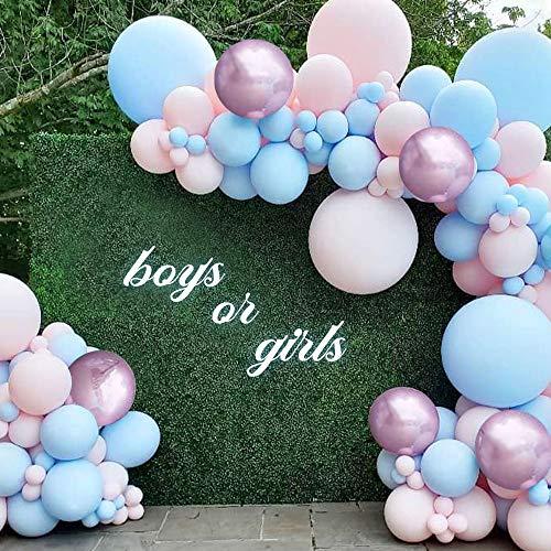 MMTX Gender Reveal Party Decoration,99pezzi Palloncino Kit Ghirlanda,Palloncino Lattice Rosa e Blu,Palloncino Decorativo per Baby Shower Compleanno Feste di Nozze Decorazione