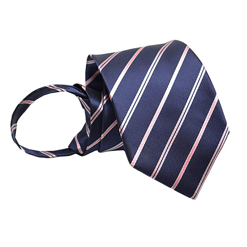 BESMODZ Men's Classic Stripe Zipper Ties Wedding Business Pre-tied Silk Neck Tie