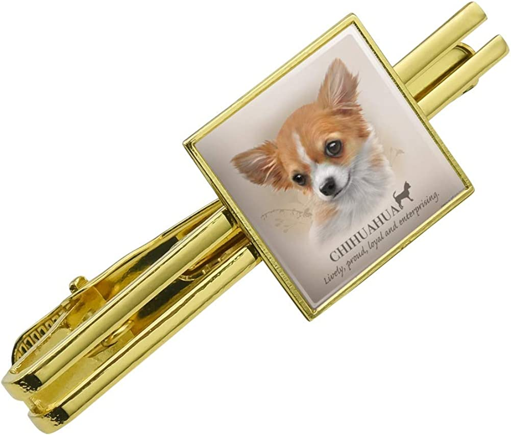 Graphics and More Chihuahua Dog Breed Square Tie Bar Clip Clasp Tack Gold Color
