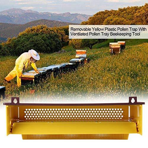 95sCloud Imkerei Plastik Pollenfalle Gelb Mit Abnehmbarem Belüftet Pollen Behälter Kollektor Versorgungsmaterialien Bienenzucht Werkzeuge Zubehör Imkerei Ausrüstung, 39 x 13 x 9 cm