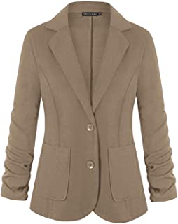 Unifizz Womens Casual Work Office Blazer Pockets Buttons Suit Jacket 3/4 Sleeve
