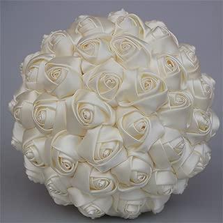 USIX Handcraft Solid Color Popular Satin Rose Bridal Holding Wedding Bouquet Wedding Flower Arrangements Bridesmaid Bouquet(Ivory)