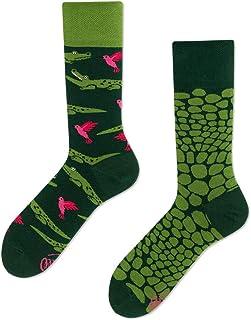 Many Mornings, Forfitter Calcetines multicolores con motivo de cocodrilo, colibrí, selva