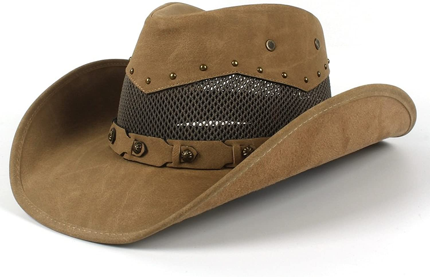 6ed47fb5 L.Z.H L.Z.H L.Z.H Men's Leather Cowboy Hat Summer With Mesh Dad Godfather  Hats 58-59CM 398400