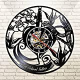 UIOLK Old School Tattoo Studio Reloj de Pared Estilo de Tatuaje Negro Disco de Vinilo 3D lámpara de Pared Reloj de Pared de Moda para el hogar Regalo del Tatuaje