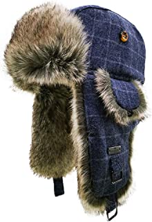 Wool Blend Diamond Check Plaid Faux Fur Aviator Ski Trapper Trooper Earflap Warm Outdoor HatHat